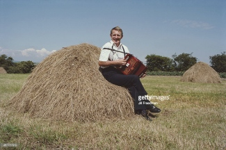 Johnny Leary on a haystack 1984