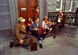 Playing at Fleadh Cheoil are Denis Murphy, Johnny OLeary, Julia Clifford, Listowel, County Kerry 1973
