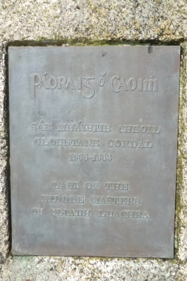 Plaque below Padraig's bust in Scartaglin