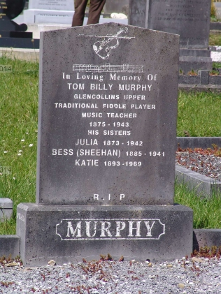 Tom Billy Murphy headstone in Ballydesmond cemetery