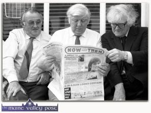 Knocknagree publican, Dan O'Connell (left) pictured with Ciar‡n Mac Mathœna and Breannd‡n Breathnach at the opening of the Denis Murphy Memorial Centre in Gneeveguilla in 1983. God be good to them all. ©Photograph: John Reidy 9-8-1983