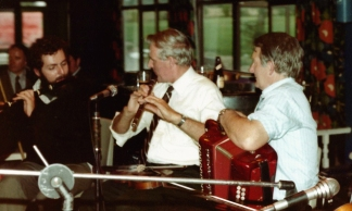 A rare shot of Paddy on the flute, with Johnny O'Leary and Mick Quinlan