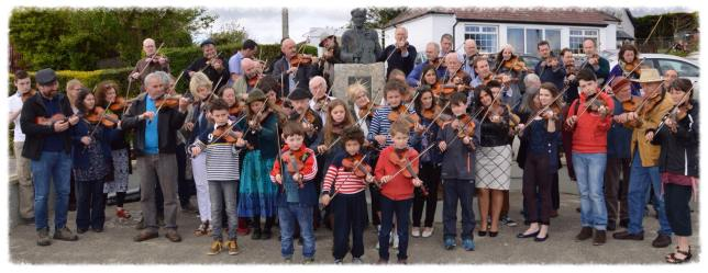 Fiddlers at the popular World Fiddle Day celebration