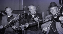 The late Jerry McCarthy (left) and the late Mikey Duggan (centre) pictured with Denis McMahon as they played on the opening night of the first Patrick O'Keeffe Traditional Music Festival in 1993. ©Photograph: John Reidy 22-10-1993