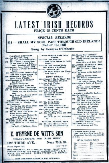 OBDW ad in NY Irish American Advocate 1928
