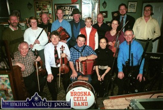Gathered for the RTE Radio One Céilí House 2002 recording at Brennan's Bar were, front from left: Donal O'Connor, Nicky McAuliffe, Mick Mulcahy, Louise Mulcahy and soundman, Pat Hogan. Back from left: Kieran Hanrahan, presenter, Anne McAuliffe, Patrick O'Connor, John Connolly, Denis McMahon, Celia Regan, Pat Mulcahy, Michelle Mulcahy, Peter Browne, producer and Martin Moran, soundman. ©Photograph: John Reidy 10/11/2002