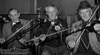 Jerry McCarthy (left) and Mikey Duggan (centre) pictured with Denis McMahon as they played on the opening night of the first Patrick O'Keeffe Traditional Music Festival in 1993. Photograph: John Reidy 22-10-1993